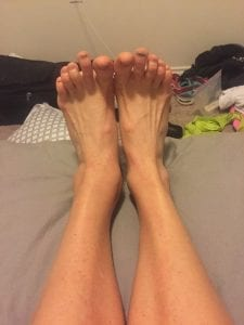 seven months broken ankle progress - happy to have mashed toenails from running!