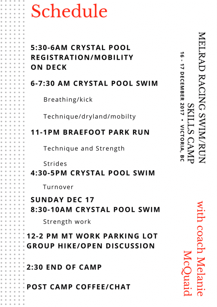 Swim run camp schedule