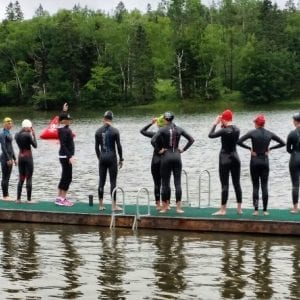 Melanie McQuaid coaching junior elite triathletes